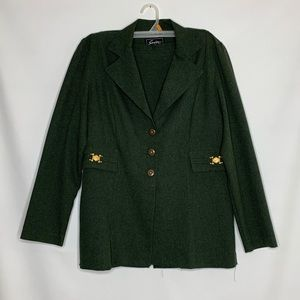 Vtg Sweet Suits Green Two Piece Size 10
